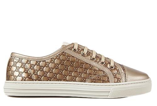 Gucci zapatos zapatillas de deporte mujer en piel nuevo micro gg oro EU 39 310031 AP120 9504: Amazon.es: Zapatos y complementos