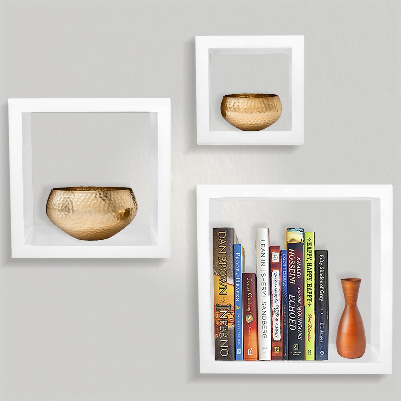 Sorbus Floating Shelves— Square Shaped Hanging Wall Shelves for Decoration - Features Shadow Square Frame Design for Photo Frames, Collectibles, Decorative items, and Much More (Set of 3, White)