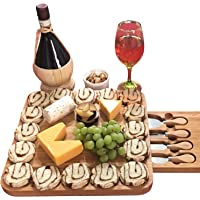 Fancy gifts for Mom, Fathers Day, Women, Wedding, Housewarming, Birthday, Bamboo Cheese Board w/Cutlery Set, Wood Charcuterie Platter & Meat Server