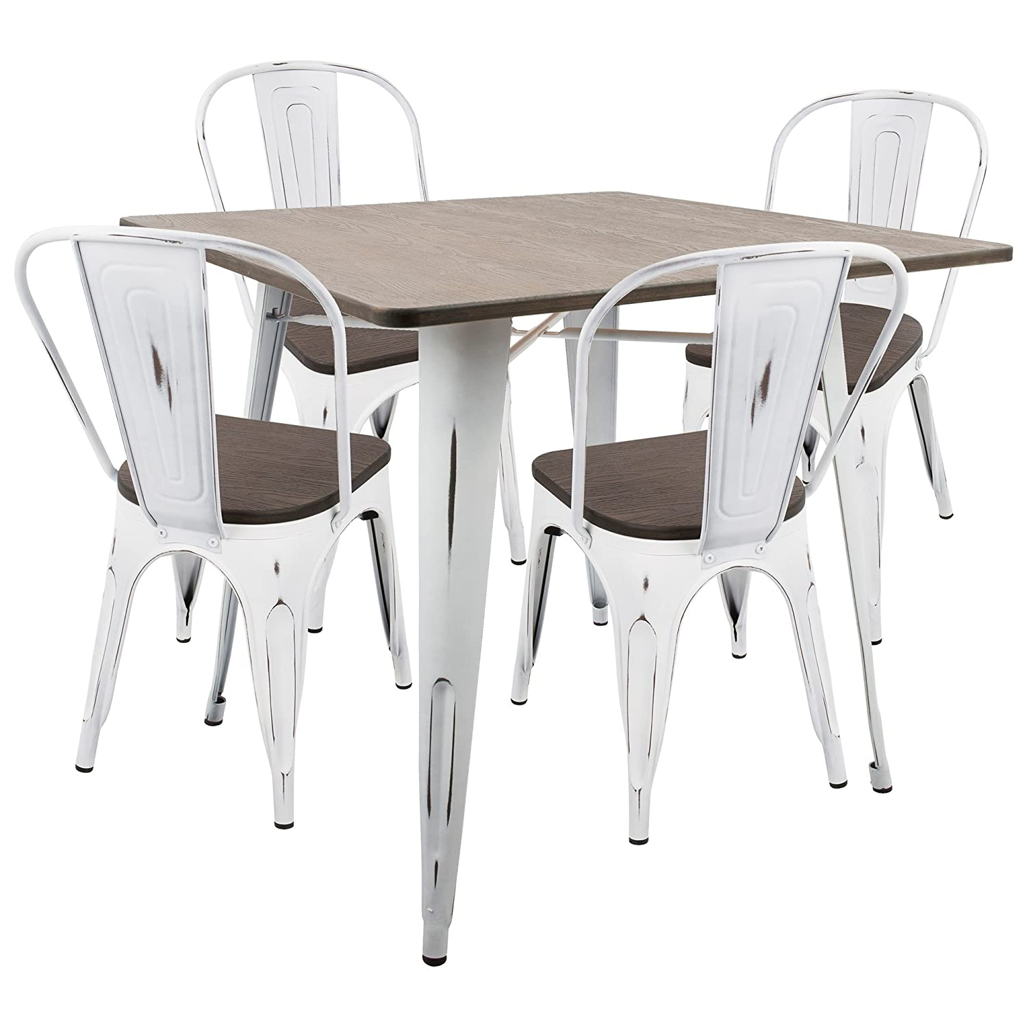 Amazon com lumisource 5 pc dining set in vintage white and espresso finish table chair sets