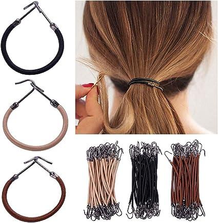 Bostar 15 bandas elásticas para el pelo, 3 colores, gancho de goma ...