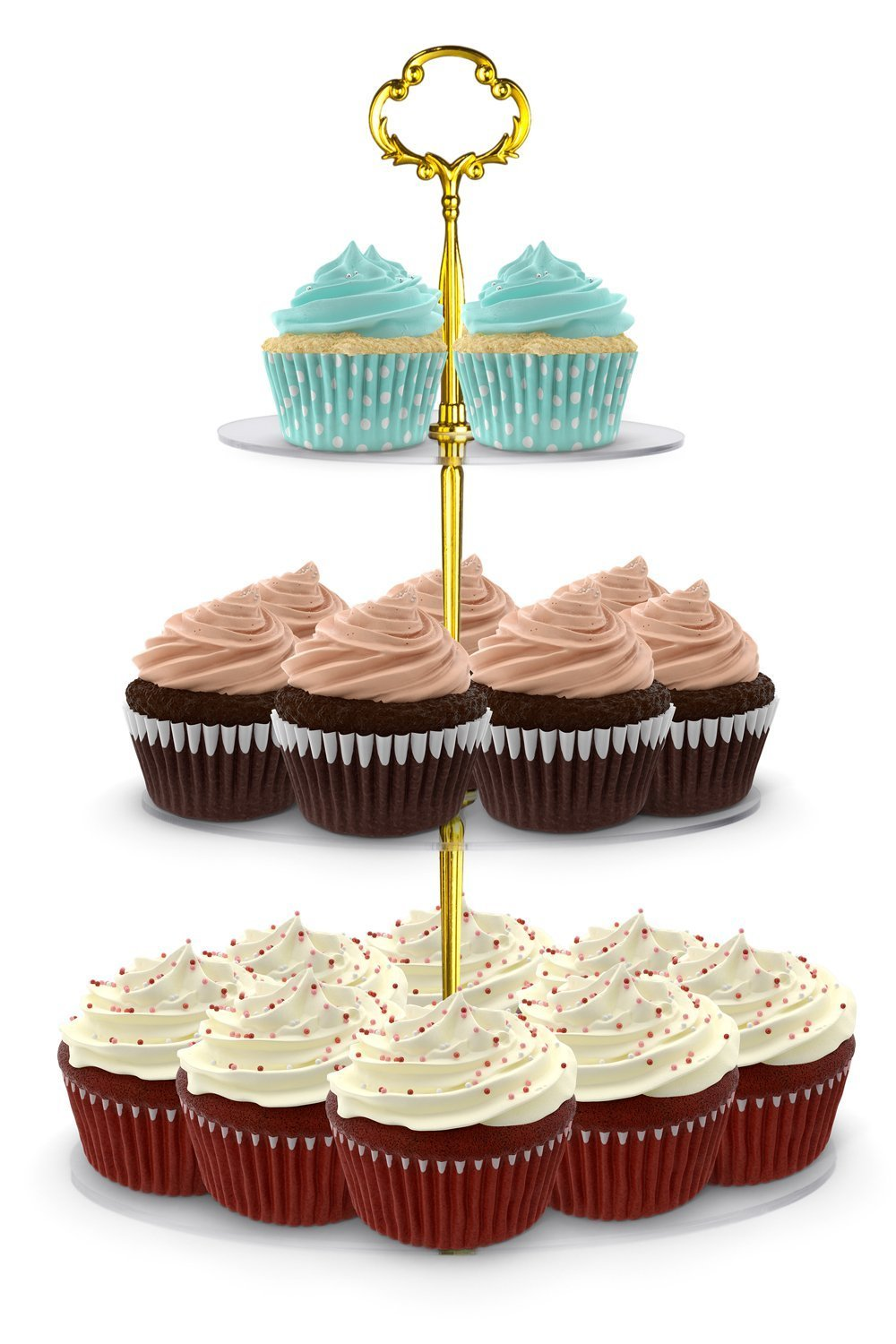 Cupcake Tower Utenlid Acrylic 3-Tier Round Stacked Party Cupcake Stand with Stable Screw-On Gold Pillars Tiered Cupcake Stand