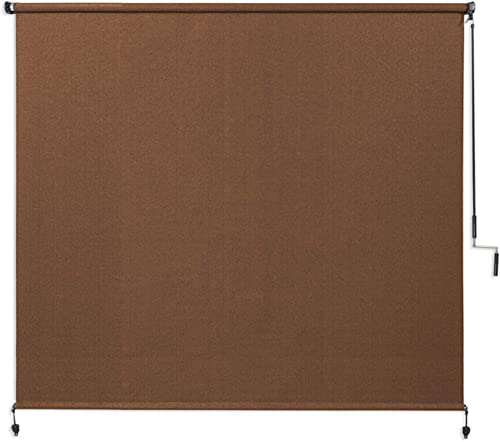 Coolaroo Exterior Roller Shade, Cordless Roller Shade with 90 UV Protection, No Valance, 6 W X 6 L , Mocha