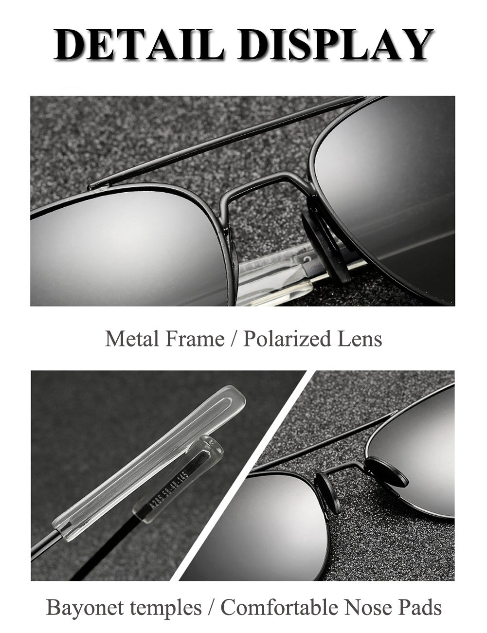 LUDEM Mens Military Aviator Sunglasses Polarized Square 55mm Pilot Bayonet Temples (Silver & Grey, 55)