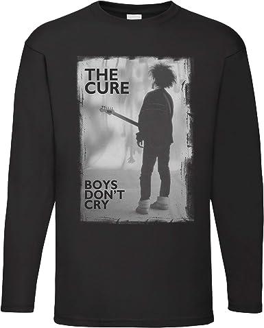 LaMAGLIERIA Camiseta de Manga Larga Hombre The Cure Boys Dont Cry - Camiseta 100% algodón Rock Band: Amazon.es: Ropa y accesorios