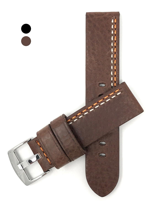 22 mmレザー時計ストラップバンドwith Stitching andステンレススチールバックル、Comes inブラウン、タンまたはブラック 22MM Brown / White and Orange Stitching  B079YYLWHM