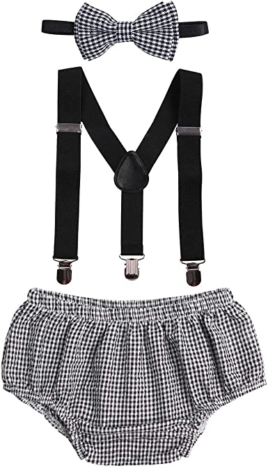 Baby Boys Cake Smash Clothes Diaper Suspenders Pants Bow Tie 3PCS Set First 1st 2nd Birthday Outfit for Photo Prop Party
