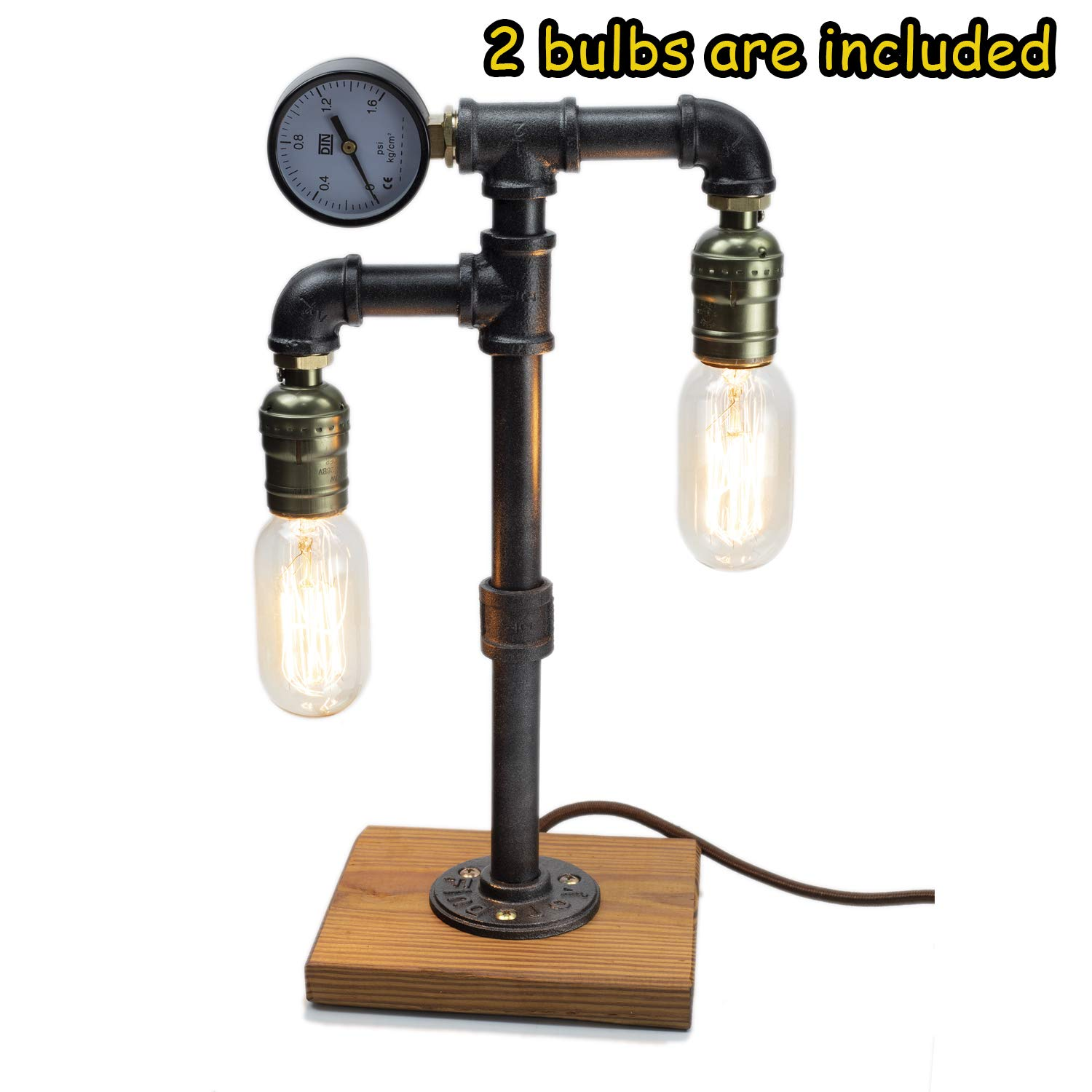Steampunk Lamp with Dimmer, Dimmable Loft Style Industrial Vintage Antique Style Light with 2 Bulbs, Wood Base with Iron Piping Desk Lamp, Retro Desk Lamp LL-026