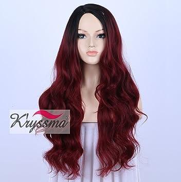 Kryssma - Peluca para mujer afroamericana, color negro en las raíces que se va degradando hasta un color burdeos. Pelucas realistas, pelo largo ...