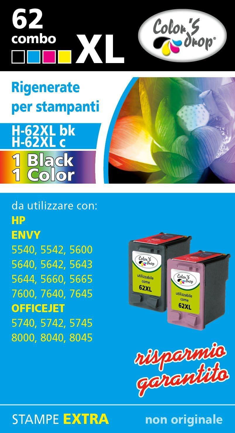 Cartuchos de tinta rellenados para HP. 1 Cartucho 62XL bk + 1 Cartucho 62XL. Pack color Combo de alta capacidad: Amazon.es: Electrónica