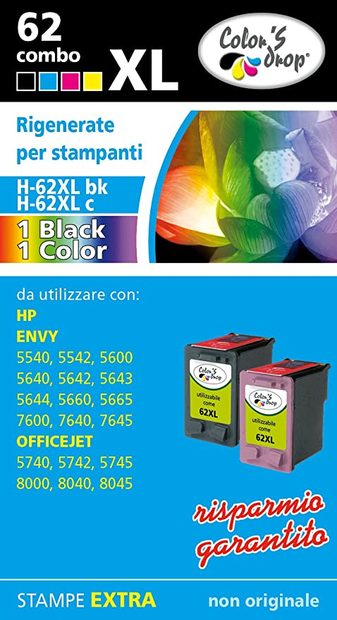 Cartuchos de tinta rellenados para HP. 1 Cartucho 62XL bk + 1 ...