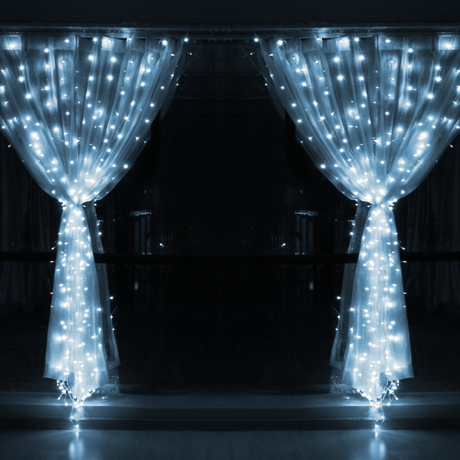 3m x 3m 8 modes 306 led curtain string fairy lights cool. Black Bedroom Furniture Sets. Home Design Ideas