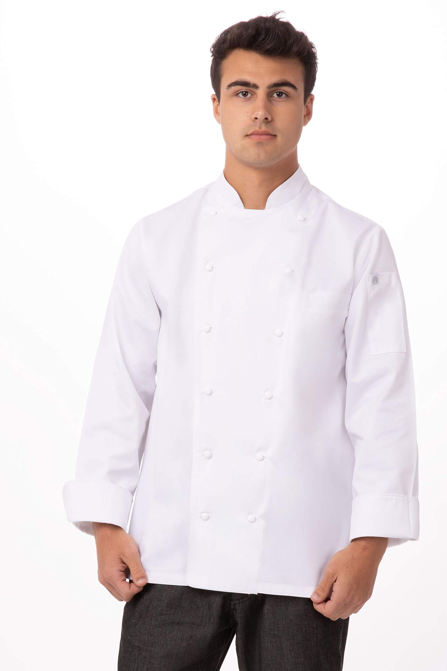 Chef Works Men's Monza Executive Chef Coat, White, X-Large by Chef Works