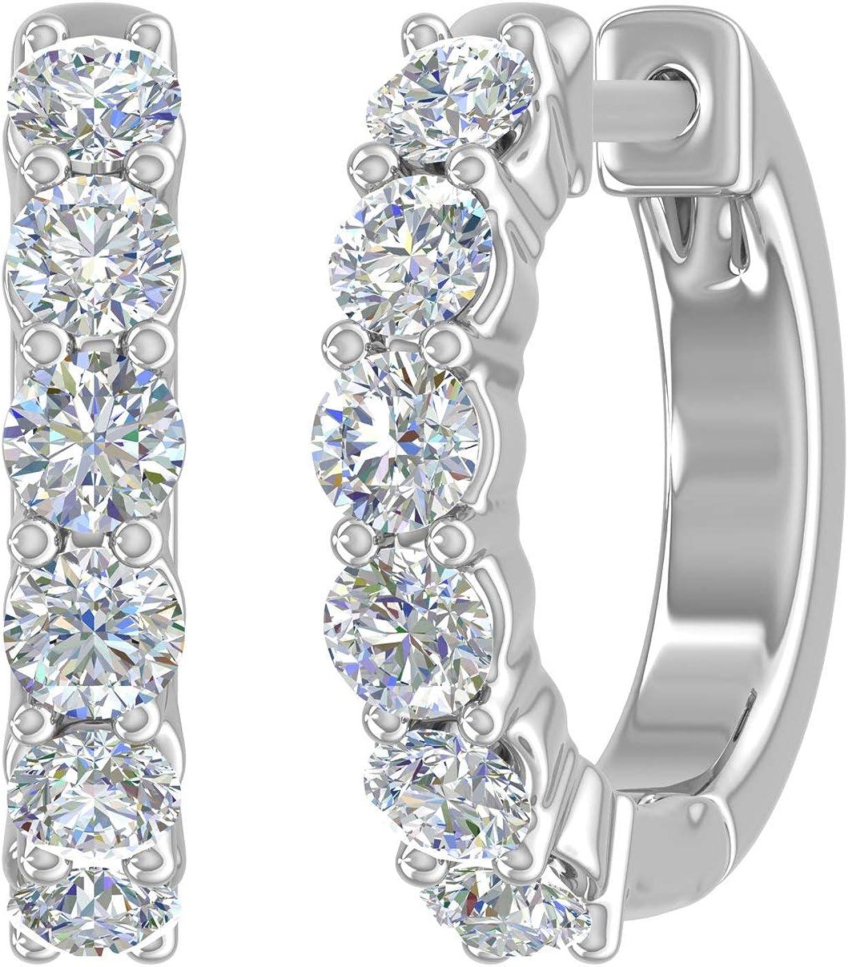 3/4 Carat Diamond Hoop Huggies Earrings in 14K Gold