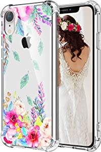 Hepix iPhone XR Case Floral Clear Xr iPhone Cases Blossom Flowers, Soft TPU Flexible Slim Protective XR Cover Cases with Reinforced Bumper for Women