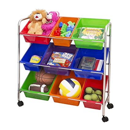 Merveilleux Toy Cubby Storage 3 Tier Bookcase With Bins Primary Colourful Kids Toy  Organizer Portable Decorative Playful