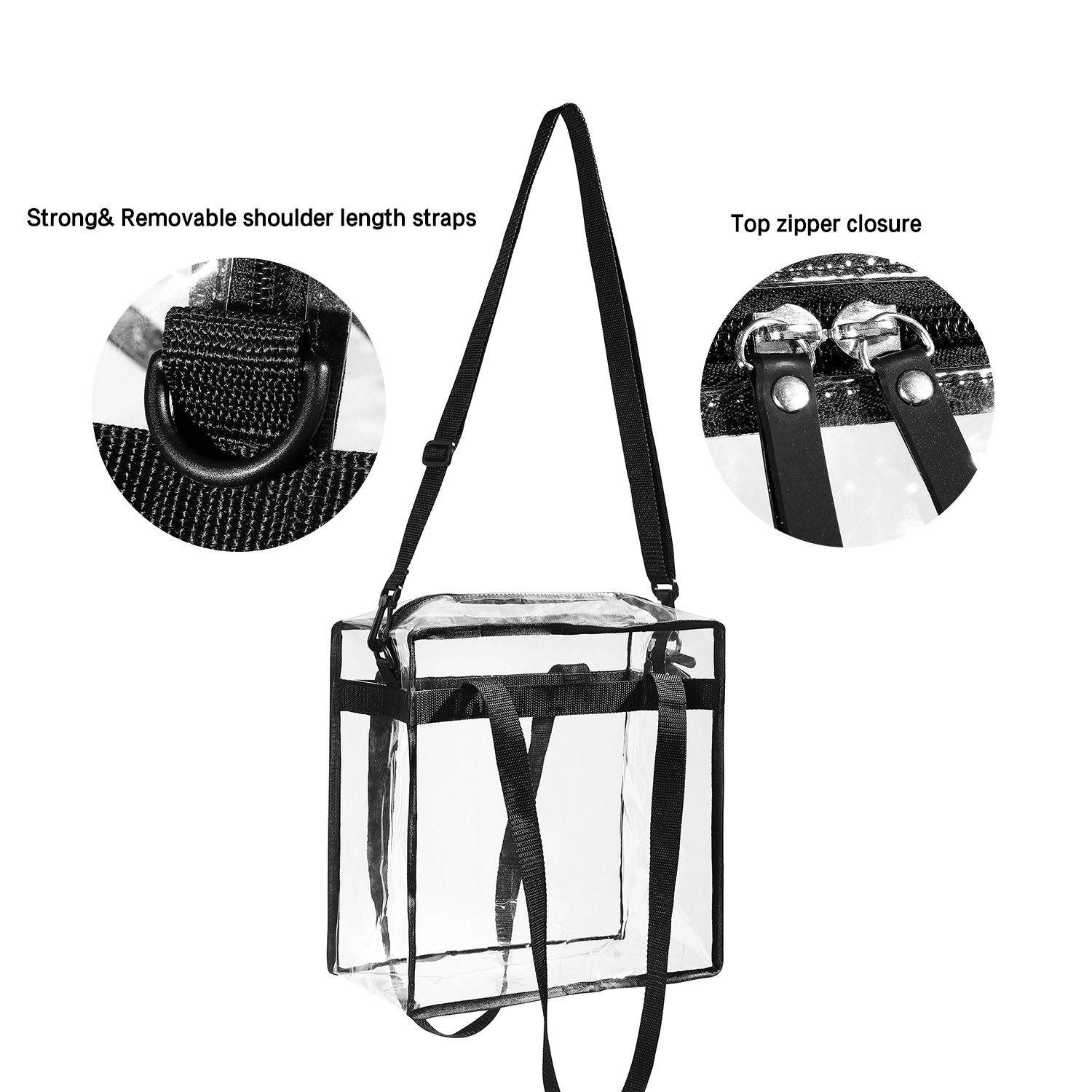 "Clear Bags NFL & PGA Stadium Approved - The Clear Tote Bag with Zipper Closure is Perfect for Work, Sports Games.Cross-Body Messenger Shoulder Bag w Adjustable Strap -12"" X 12"" X 6"" (Two Bag) by BAGAIL (Image #2)"
