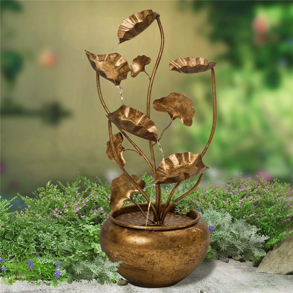 Glitzhome 31.89'' H Floor Standing Water Fountains - Antique Gold Metal Lotus Tiered Waterfall Decorative Garden Outdoor/Indoor Tool by Glitzhome