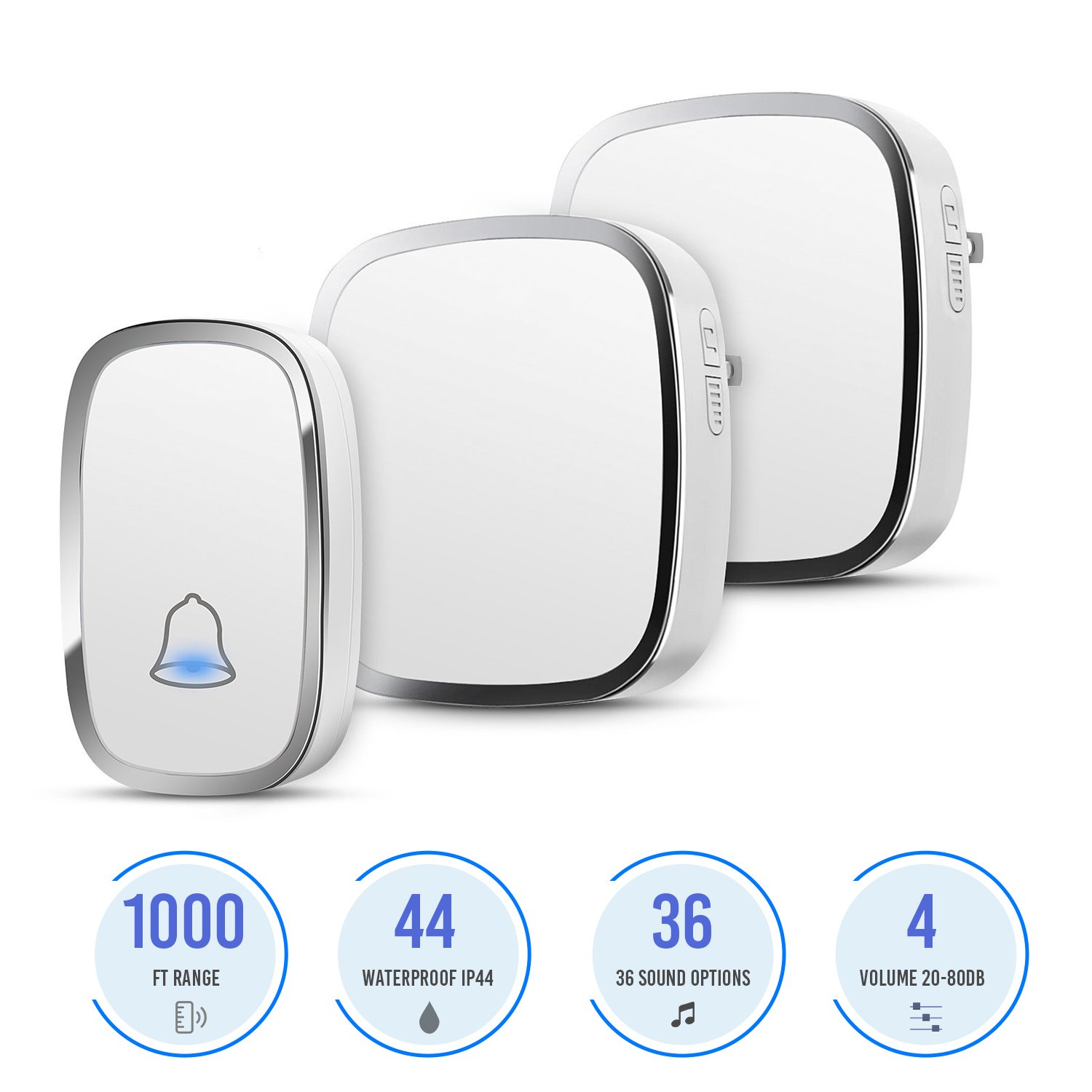Yimaler Wireless Doorbell Waterproof Electric Chime Kit for home 1000ft Wide Range with 1 Remote Push Button Transmitter (Battery included) 2 Plug-in AC Receivers 36 Melodies 4 Level Adjustable Volume