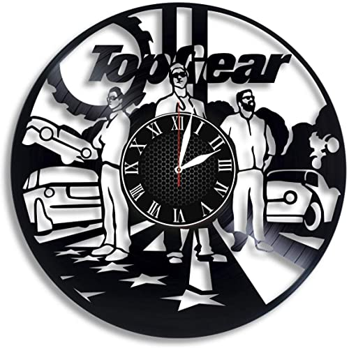 Top Gear Handmade for Kitchen Top Gear Ideal Wall Poster Office Top Gear Vinyl Record Wall Clock Bedroom
