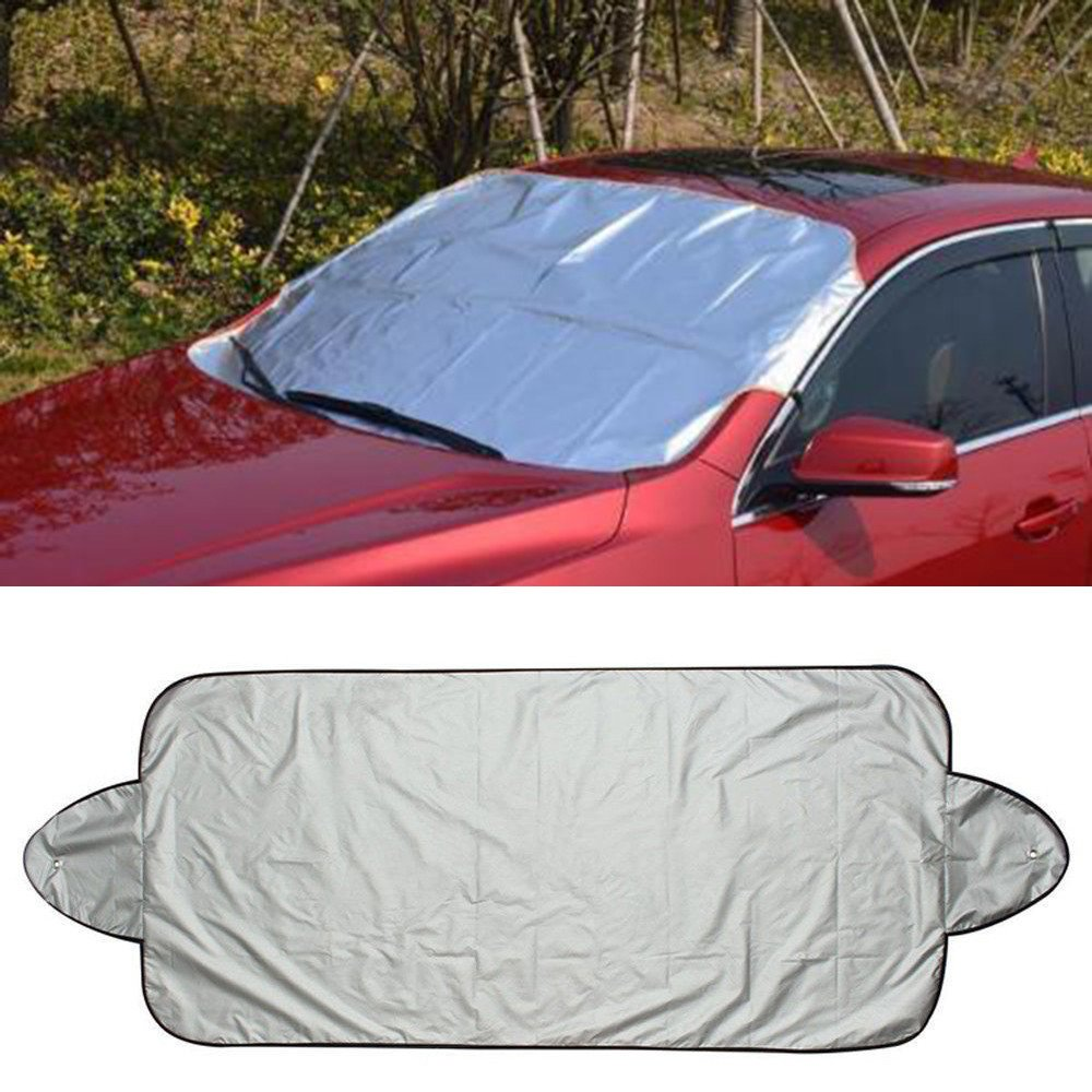 Snowfoller Winter Windshield Cover, Car Snow Ice Protector Visor Sun Shade Front Rear Block Shields - Silver (59''x 27)'' (Black)