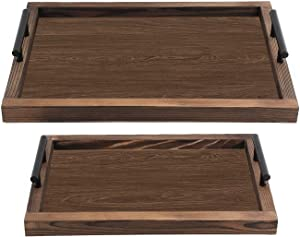 MaxGear Wood Serving Tray with Handles Set of 2, Nesting Wooden Tray Coffee Table Food Serving Trays Rustic Serving Tray for Coffee Tea Snacks, Large: 16.5 x12.2 x2.6'' - Small: 14.6 x10.2 x2.6''