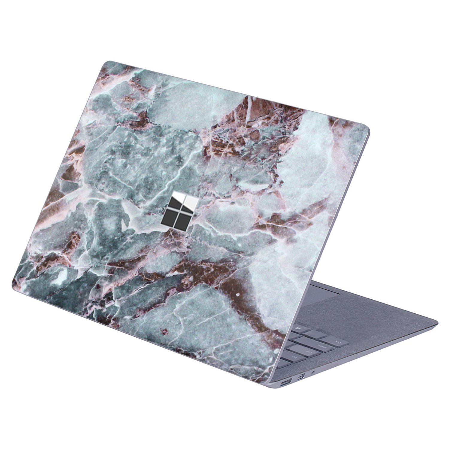 Masino Protective Decal Sticker Protector Cover Skin for 13.5 inch Microsoft Surface Laptop (For Surface Laptop, Decal - Marble White with Grey&Brown)