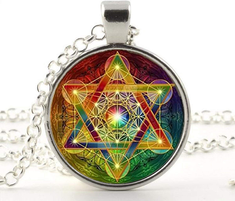 Cube Pendant Necklace Sacred Geometry Flower Of Life Jewelry Chakra Spiritual Necklace Man Women Magic Hexagram Choker