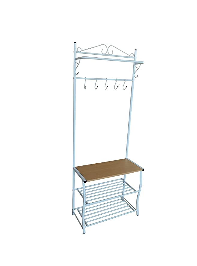 White Metal Natural Entryway Storage 3-tier Shoe Bench with Coat Hat Rack Purse 7 Hooks with Hanger Rod / Scroll Design