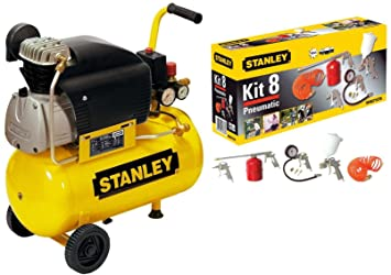 Compresor Aire Stanley D210/8/24 24 LT lubrificato 2 HP 8 bar + Kit Accesorios 8 Unidades: Amazon.es: Bricolaje y herramientas