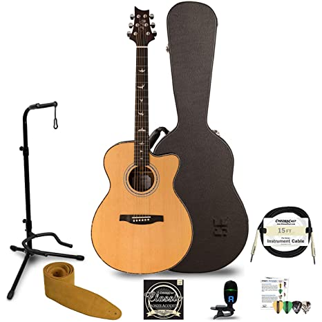 35804a03664 Amazon.com: PRS 6 String Acoustic-Electric Guitar Right, AE4OENA w/Hard Case  & Accessories (AE4OENA-KIT-1: Musical Instruments
