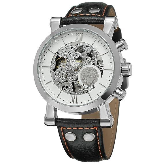 Forsining de los hombres elegante esqueleto automático mecánico correa de piel reloj con índice de barras wrg8122 m3s2: Amazon.es: Relojes