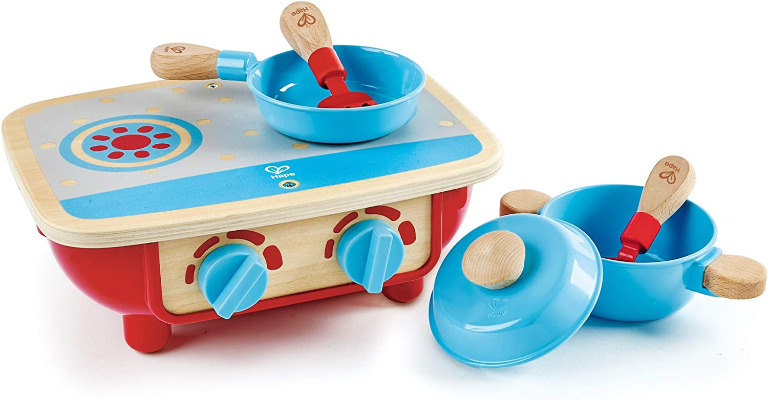 Hape Toddler Kitchen Set | Wooden 6 Piece Cooking Set, Pretend Kitchen Playset with Toy Stove, Frying Pan, Spoon, Spatula