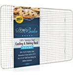 "CoolingBake Stainless Steel Wire Cooling and Baking Rack, Oven Safe Rust-Resistant, Heavy Duty, 11.5"" x 16.5"""
