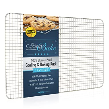 CoolingBake Stainless Steel Wire Cooling and Baking Rack, Oven Safe Rust-Resistant, Heavy Duty, 11.5  x 16.5