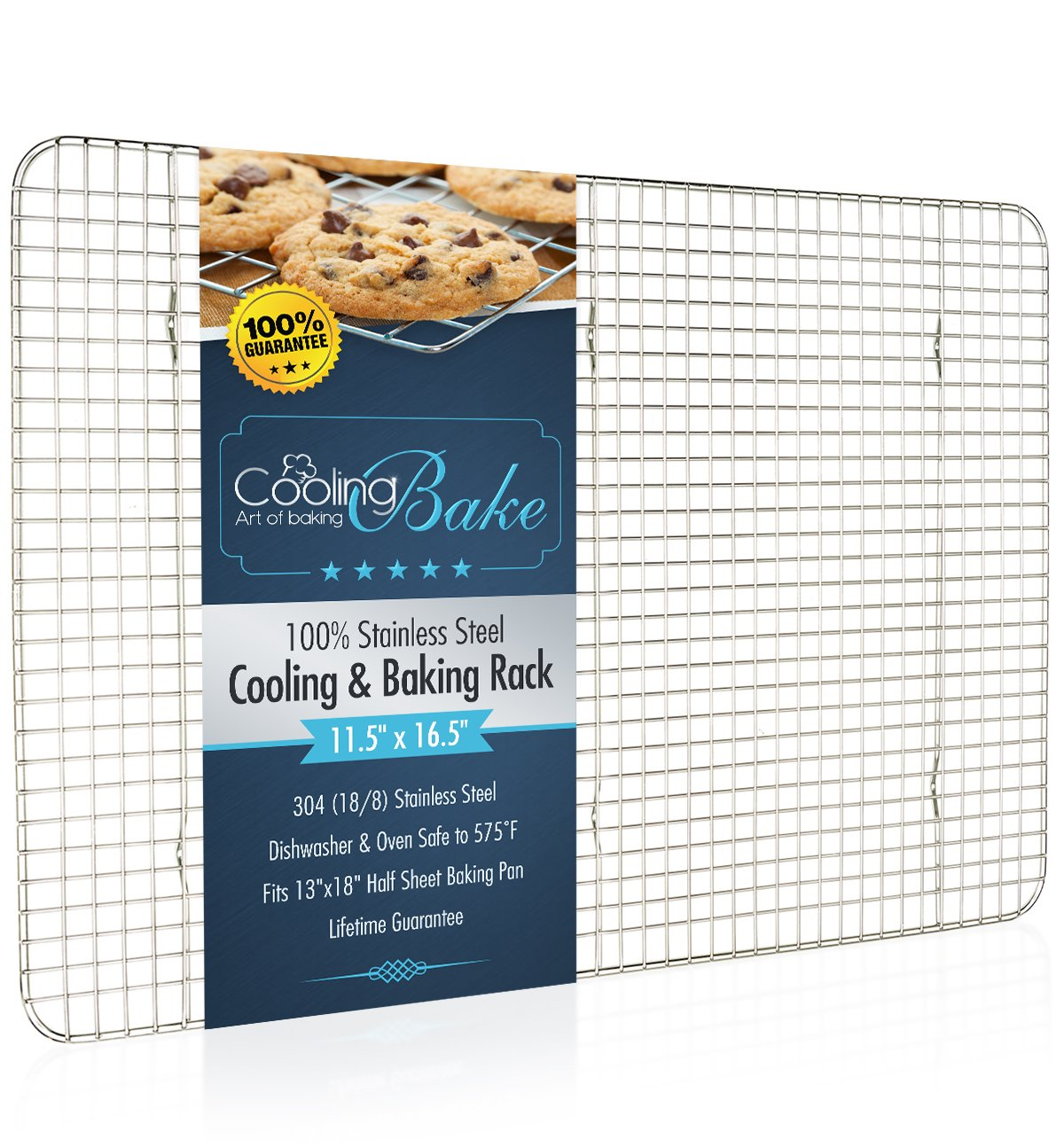 CoolingBake Stainless Steel Wire Cooling and Baking Rack, Oven Safe Rust-Resistant, Heavy Duty, 11.5'' x 16.5''