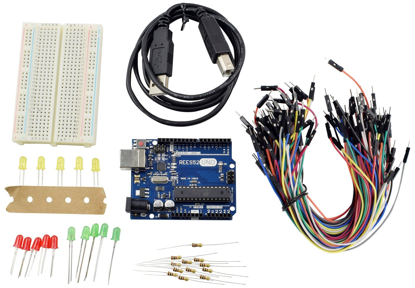 Rees52 R3 400 Basic Starter Kit Arduino Uno Breadboard Led Jumper Prototyping Wiring Kits With Wire For Industrial Scientific
