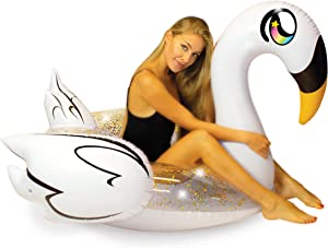 """Poolcandy Inflatable Glitter Animal Collection Golden Swan - Jumbo Pool Float   Swim Ring - Measuring 56"""" x 50"""" x 50"""" - Summer Pool Raft Lounge for Adults & Kids"""