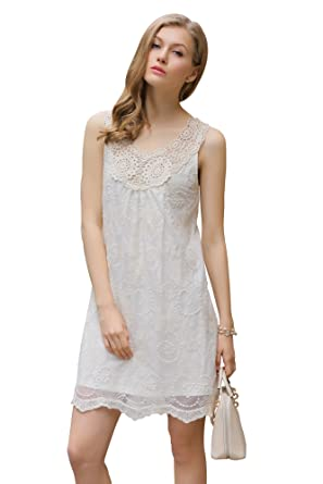 f6186da51 UP Ultrapink Women's Missy Designer Sleeveless Embroidered Mesh Trapeze  Dress Crochet, Ivory, Medium