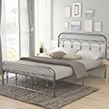 Full Size Metal Bed Frame Platform No Box Spring Needed with Vintage Headboard and Footboard Premium Steel Slat Support Mattress Foundation Black/Silver
