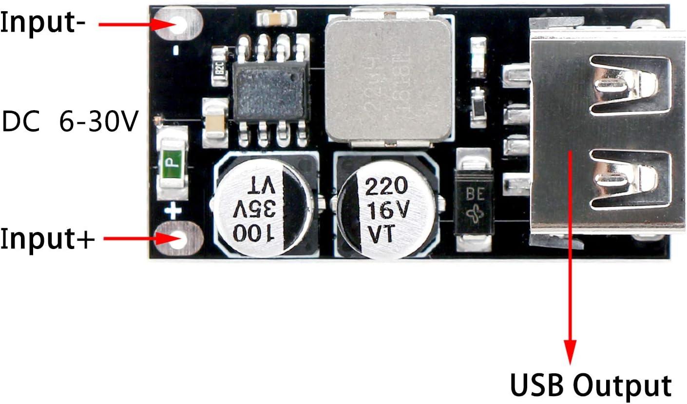 HiLetgo 2PCS DC-DC Power Buck Module 6V-32V12V24V To QC3.0 Fast Charging Single USB Charging Converter Board Apply For iPhone Huawei FCP