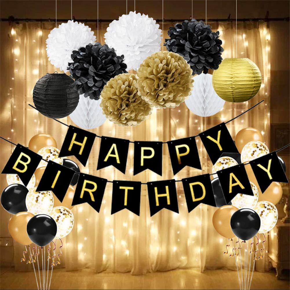 af20fc5ece52e Amazon.com: Wcaro Black Gold Birthday Decorations - Happy Birthday ...