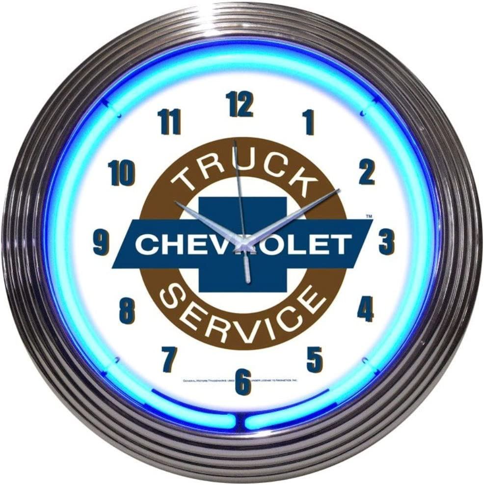 "Chevrolet Trucks 100th Logo Blue Neon Hanging Wall Clock 15/"" Diameter 8CHVTK"