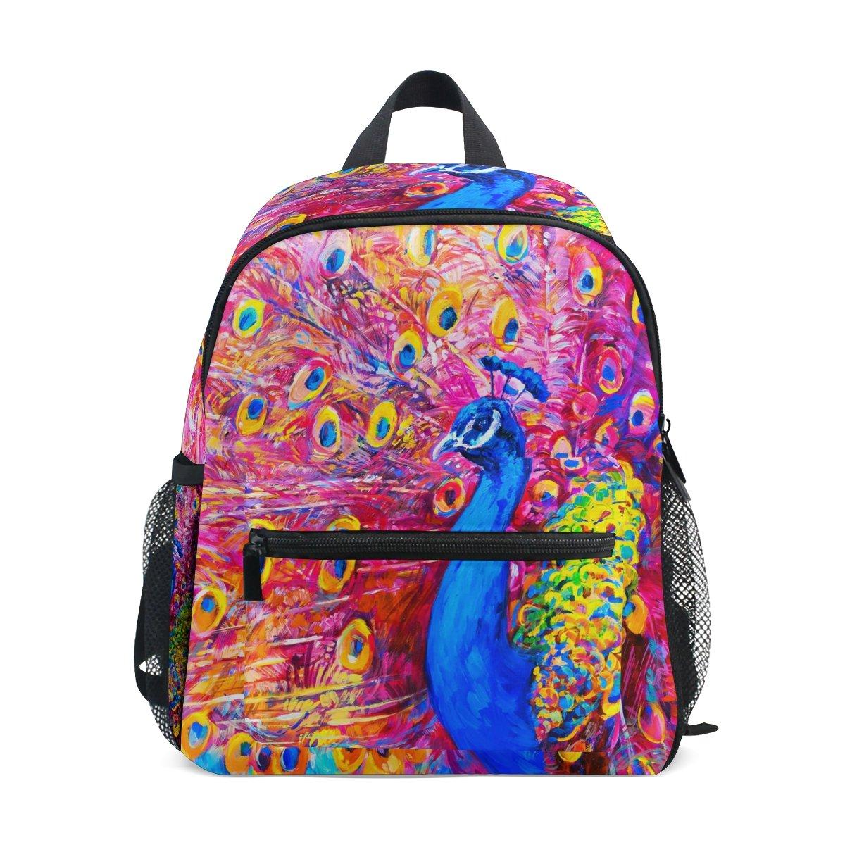 Colourlife Kidブックバッグ水彩Peacock PaintingバックパックスクールBag for Girl Boy B07DNBMCT7
