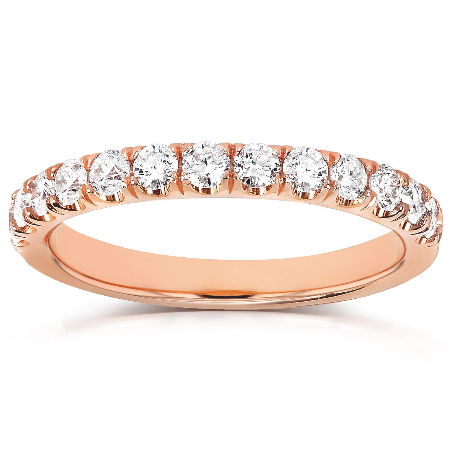 Diamond Comfort Fit Flame French Pave Band 1/2 carat (ctw) in 14K Rose Gold, Size 6.5