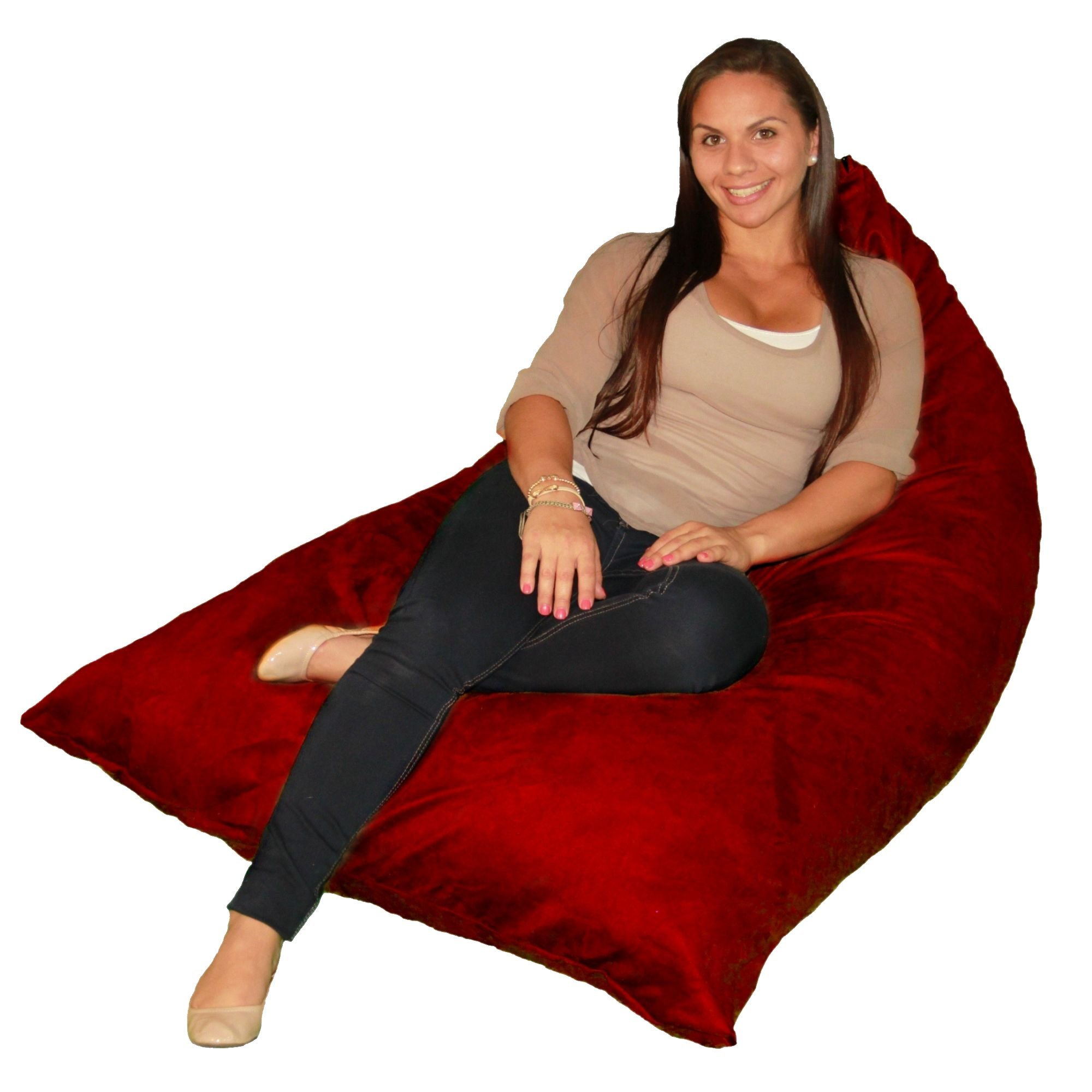 Bean Bag Chair Premium Cozy Foam Filled Cozy Lounger medium Cinnabar
