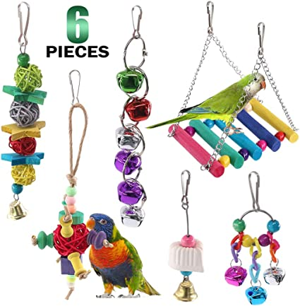 Colorful Beads Parrot Standing Perch Hammock Hanging Toy with Bells Cage Accessories for Medium and Small Parrots Finch Lovebird HEEPDD Bird Swing