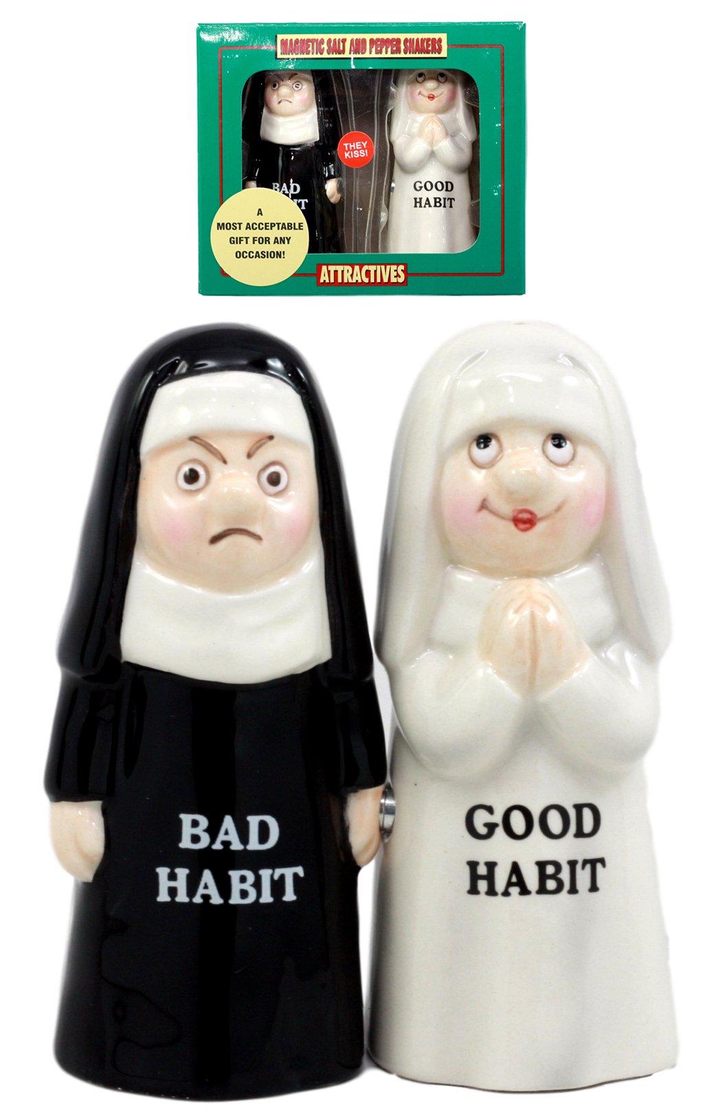 Ebros Gift Good Habits Nun Or Bad Habits Nun Salt & Pepper Shakers Ceramic Magnetic Figurine Set 4''H