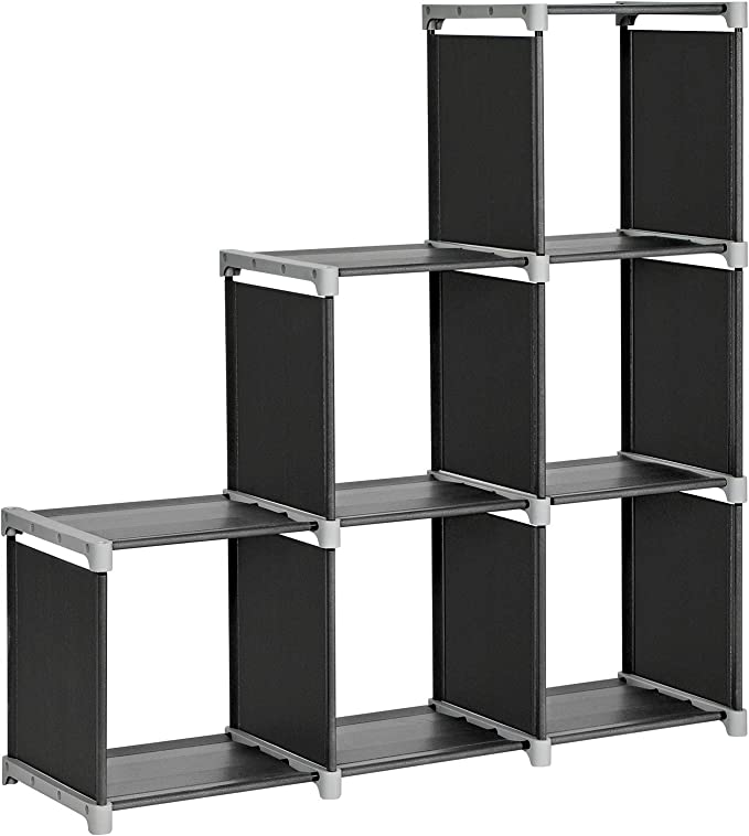 SONGMICS Librería de 6 Cubos, Estantería de Escalera de Tela, Armario de Almacenamiento, Montaje Bricolaje, para Salón, Dormitorio, Estudio, para Juguetes y Libros, Separador, Negro LSN63H: Amazon.es: Hogar