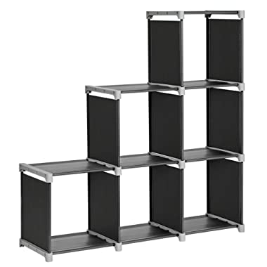 SONGMICS 6-Cube Storage Rack, Staircase Organizer, DIY Storage Shelf, Bookcase in Living Room, Children's Room, Bedroom, for Toys and Daily Necessities, Black ULSN63H